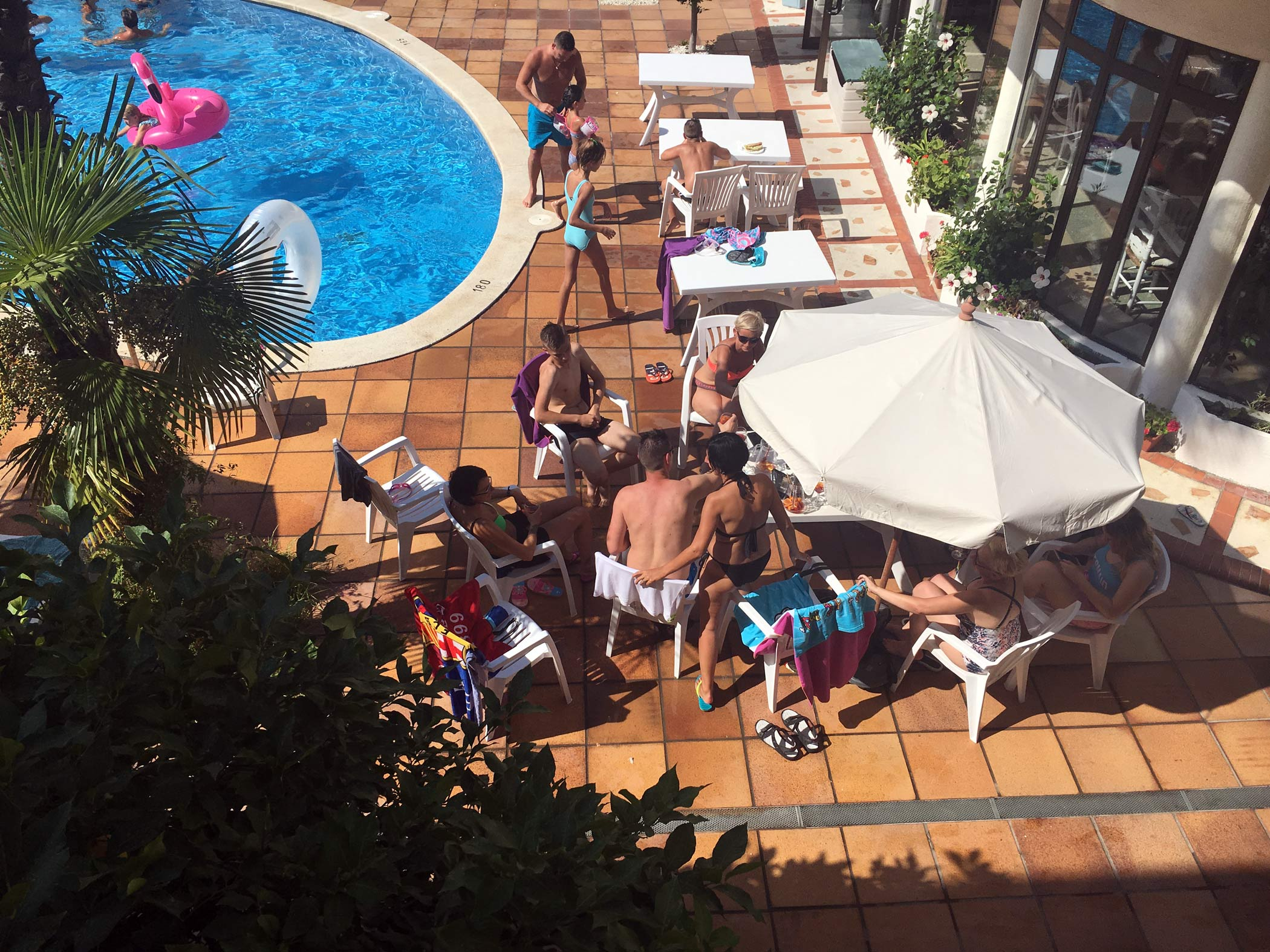 Families chilling on the terrace